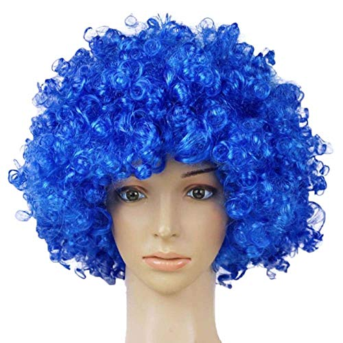 TXIN Halloween Afro Clown Curly Circus Hair Colorful Halloween Costume Wig 70's 80's Retro Disco (Blue)