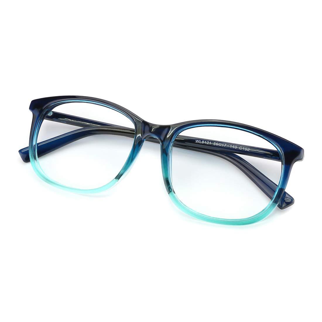 Slocyclub Unisex Blue Light Blocking Glasses Oversized Non-prescription Glasses Round Clear Lens Eyeglasses 00095101