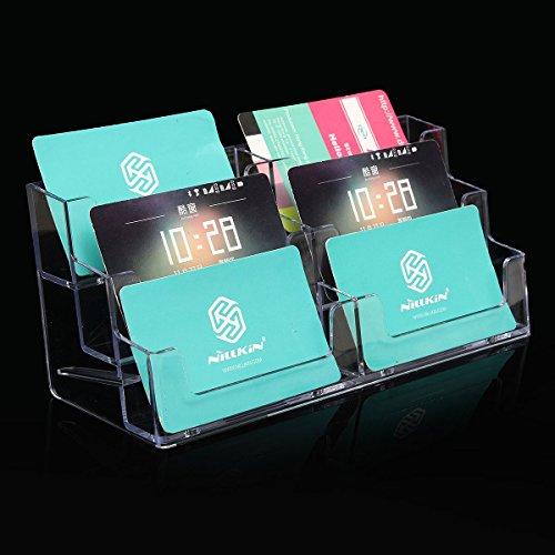 QOJA 6 pocket acrylic office desk shelf display business id card