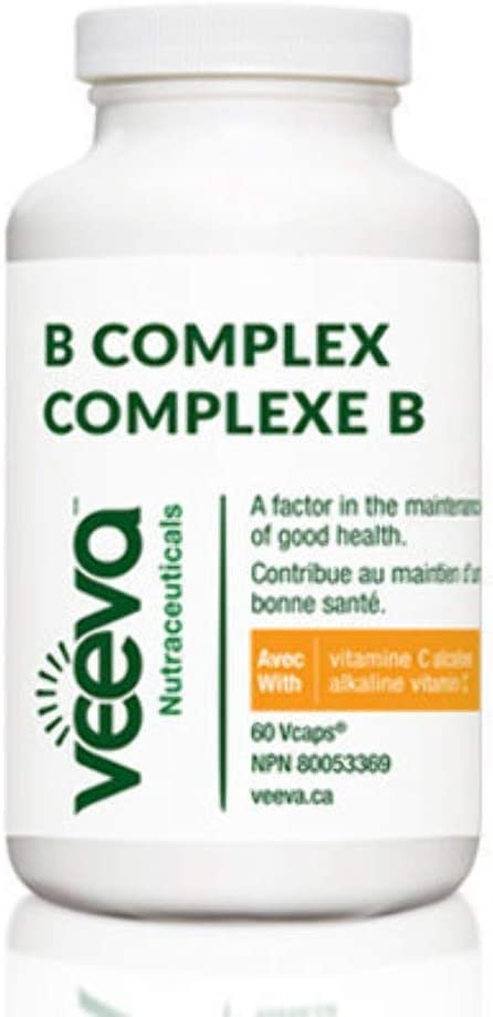 Veeva B Complex with Alkaline Vitamin C as Calcium Ascorbate. Methylated B12 and Folate for Stress, Fatigue, Depression, Anxiety, Mood & Brain Function. 60 Vcaps