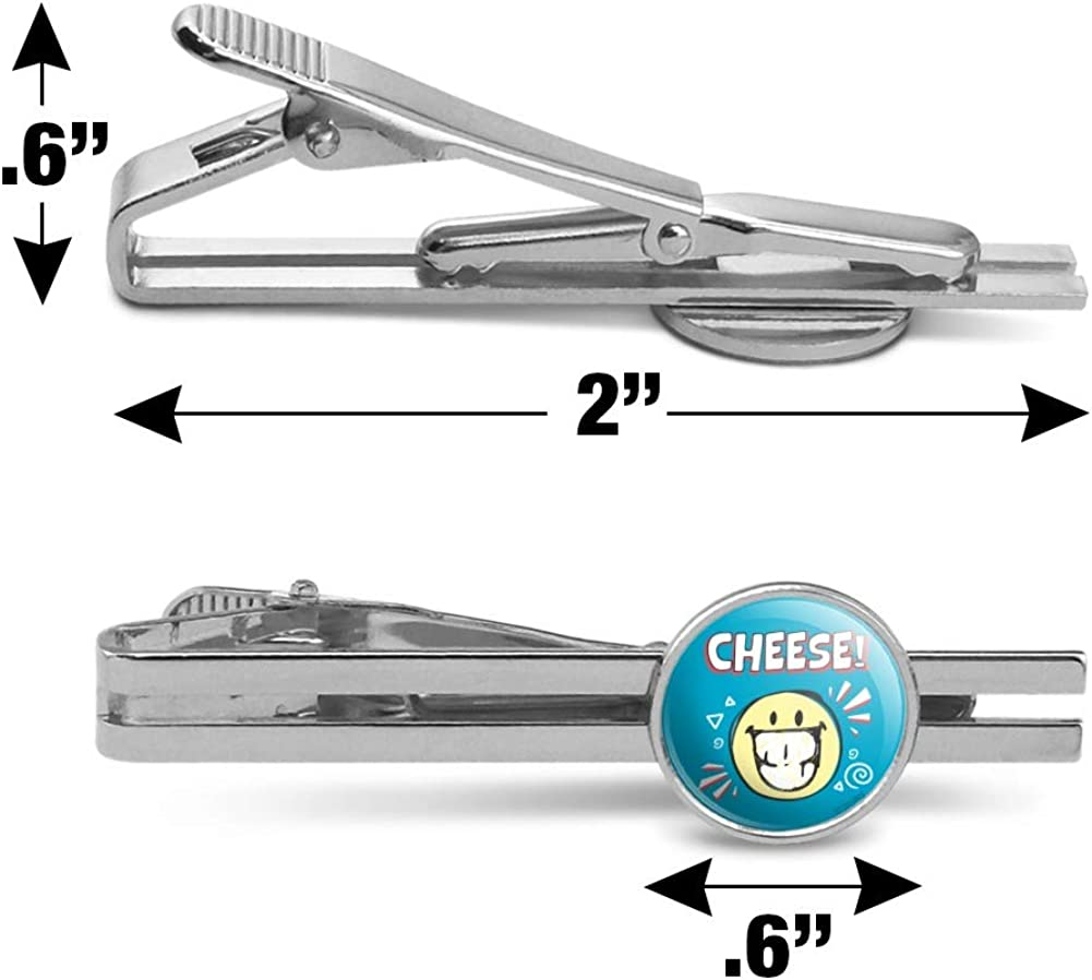 GRAPHICS /& MORE Cheese Smile Grin Smiley Face Licensed Round Tie Bar Clip Clasp Tack Silver