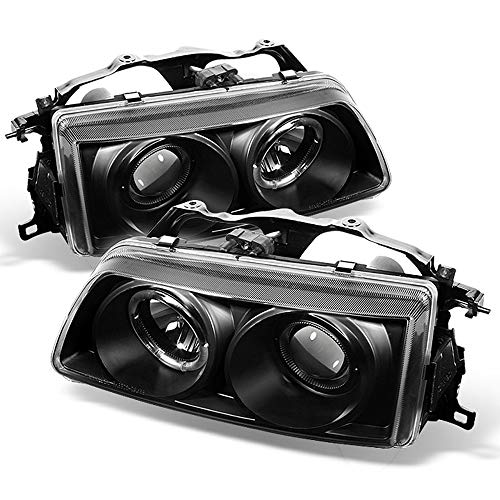 ACANII - For 1990-1991 Honda Civic/CRX LED Halo Ring Black Housing Projector Headlights Headlamps, Driver & -