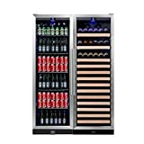 KingsBottle 2-Zone Wine and Beverage Combo Refrigerator, Holds 450 Cans and 131 Bottles, Stainless Steel with Glass Door