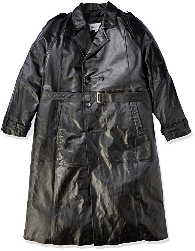 (Excelled Men's Big and Tall Leather Trench Coat, Black, 2X-Large)