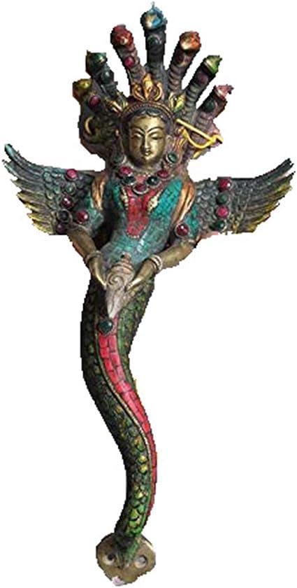 Figurine statuette Naga Serpent sur socle décoration collection bronze