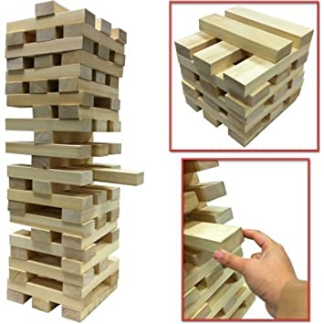 NEW GIANT WOODEN TOWER BLOCKS GAME OUTDOOR GARDEN PARTY FAMILY PUB Gorgeous Wooden Bricks Game