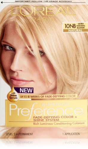 L'Oréal Paris Superior Preference Permanent Hair Color, 10NB Ultra Natural Blonde