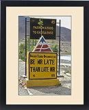 Framed Print of India, Jammu a Kashmir, Ladakh highway warning sign byt Border Roads