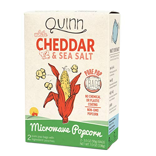 Quinn Snacks Microwave Popcorn - Made with Organic Non-GMO Corn - Great Snack Food for Movie Night - White Cheddar, 7 Ounce