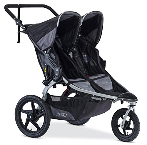 - BOB Revolution Flex Duallie 2.0 Jogging Stroller - Up to 100 pounds - UPF 50+ Canopy - Adjustable Handlebar, Black