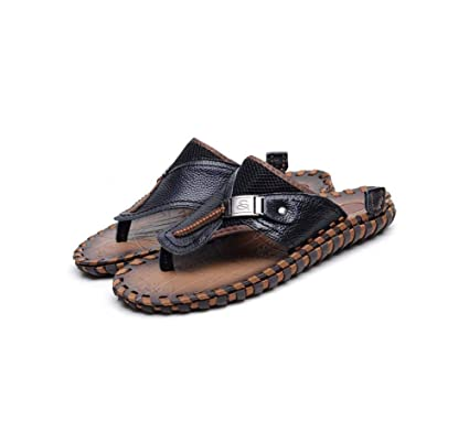f6f607276e4cc Amazon.com : GHFJDO Men's Outdoor Toe separators, Leather Sandals ...
