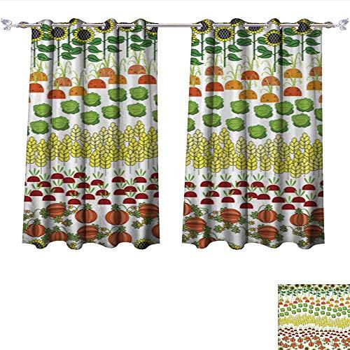 L-QNhome Waterproof Window Curtain Fields Seamless Pattern Cartoon Farming Landscape 3 Shades Window Treatment Valances Curtains W55 x -