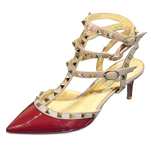 WSKEISP Womens Stud Ankle Strap Slingback Heeled Sandals Pointed Toe Stiletto High Heel Pumps Shoes Red Beige Patent PU US11 EU45