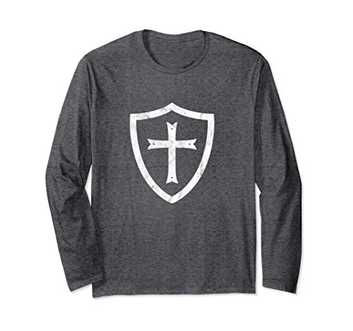 Crusader Long Sleeve - Unisex Knights Templar Shield and Cross Retro Long Sleeve T-Shirt Medium Dark Heather