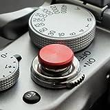 Morbido pulsante di scatto alluminio, rosso (piano, scanalato 10mm) per Leica, Fuji x100, x100s, x100t, x10, x20, x30, X-Pro1, X-Pro2, X-E1, X-E2 & X-E2s e tutte le macchine fotografiche con una filettatura conica