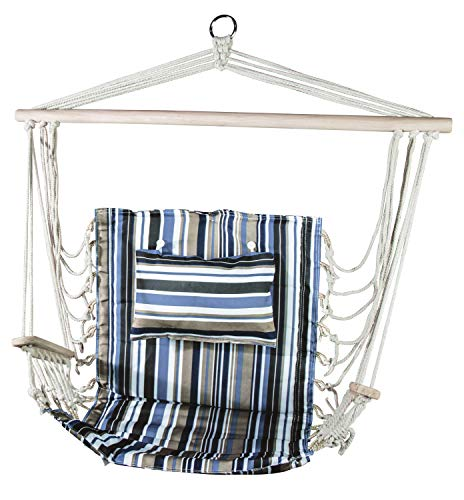 BACKYARD EXPRESSIONS PATIO · HOME · GARDEN 906614 The Ultimate Hanging Reading Ages Hammock Chairs for Outdoors or Bedrooms, Beachside Stripes
