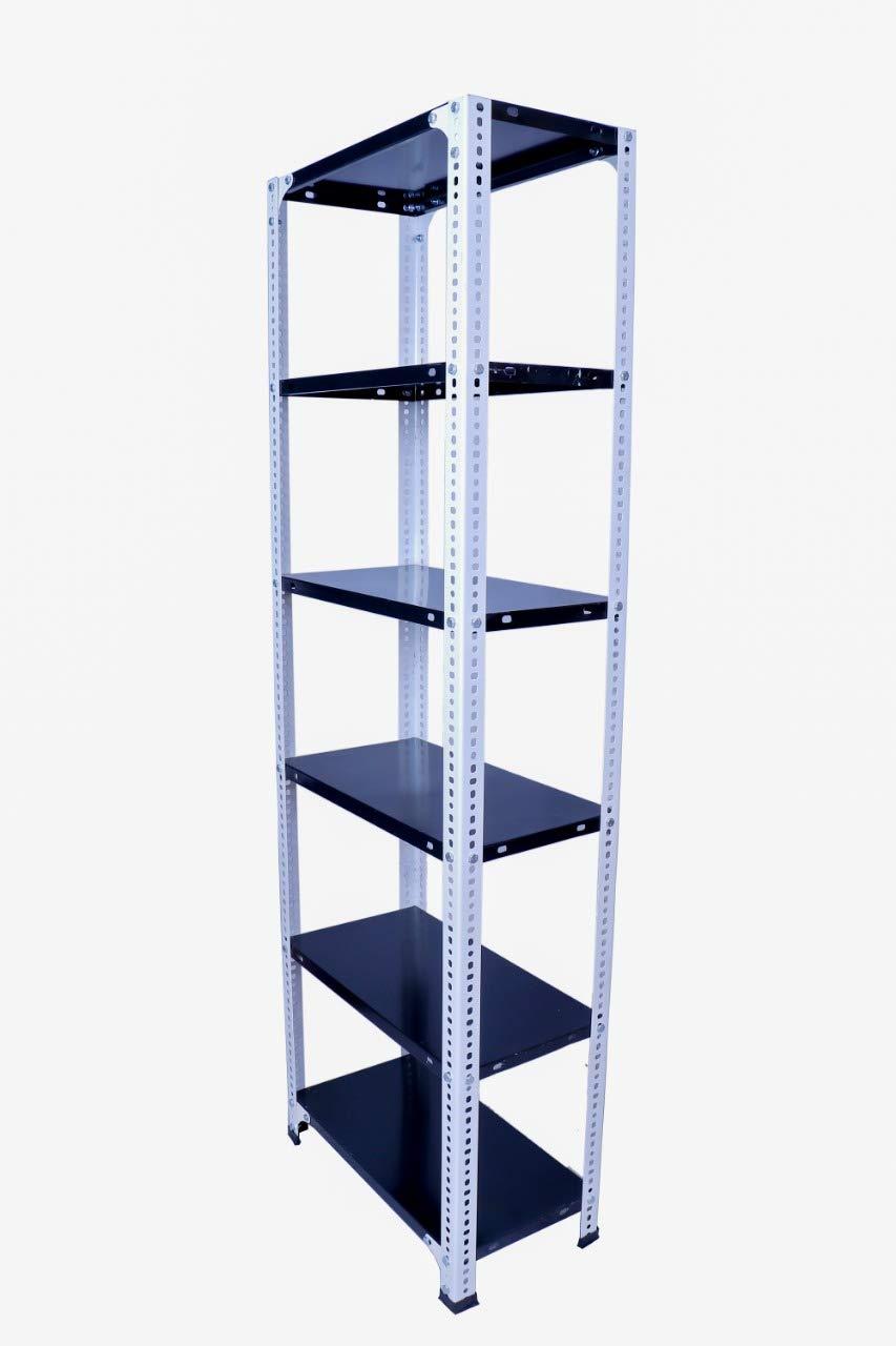 Menage® Slotted Angle Rack with 6-Shelf Shelving Unit Multipurpose Rack  (White & Grey) (72 X 24 X 12 Inch)