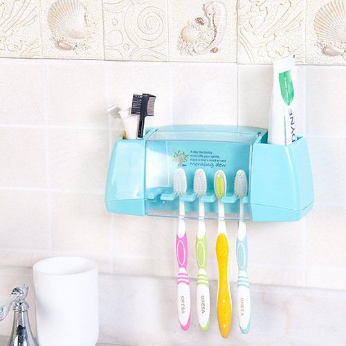 Zetti Wall Mount Suction Toothbrush holder Bathroom Organizer - Blue
