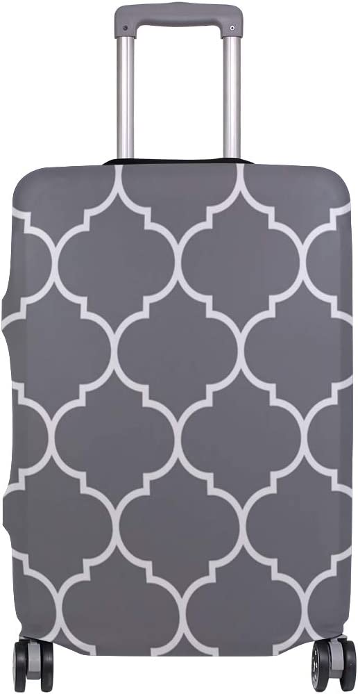 Travel Luggage Cover Geometric Grey White Moroccan Pattern Suitcase Protector