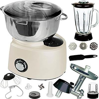 Syntrox Germany – XXL 5,8 litros Acero inoxidable crema Food Processor Robot de cocina con accesorios): Amazon.es: Grandes electrodomésticos