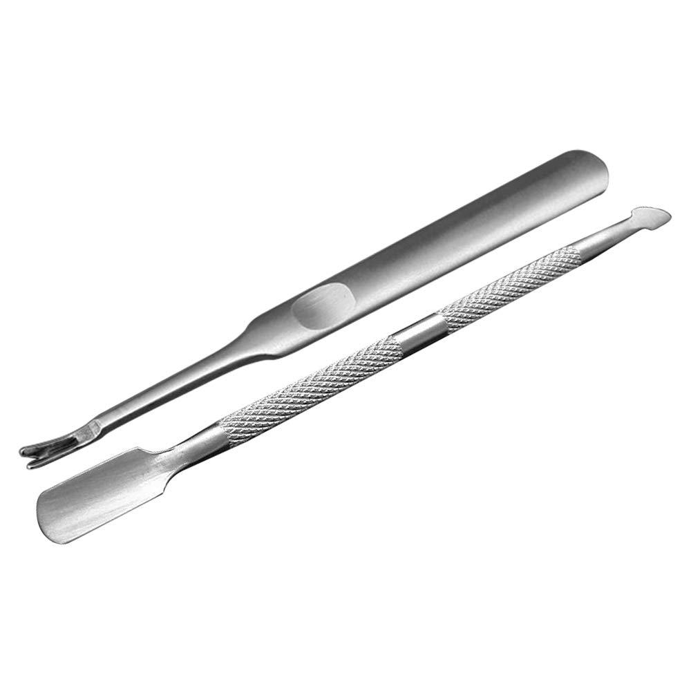 Anself Nagelhautschieber Spatel Pusher aus Edelstahl für Nagelhaut und Entfernen Gel Nagellack, 2 Stück 2 Stück W7345-EBGAP4