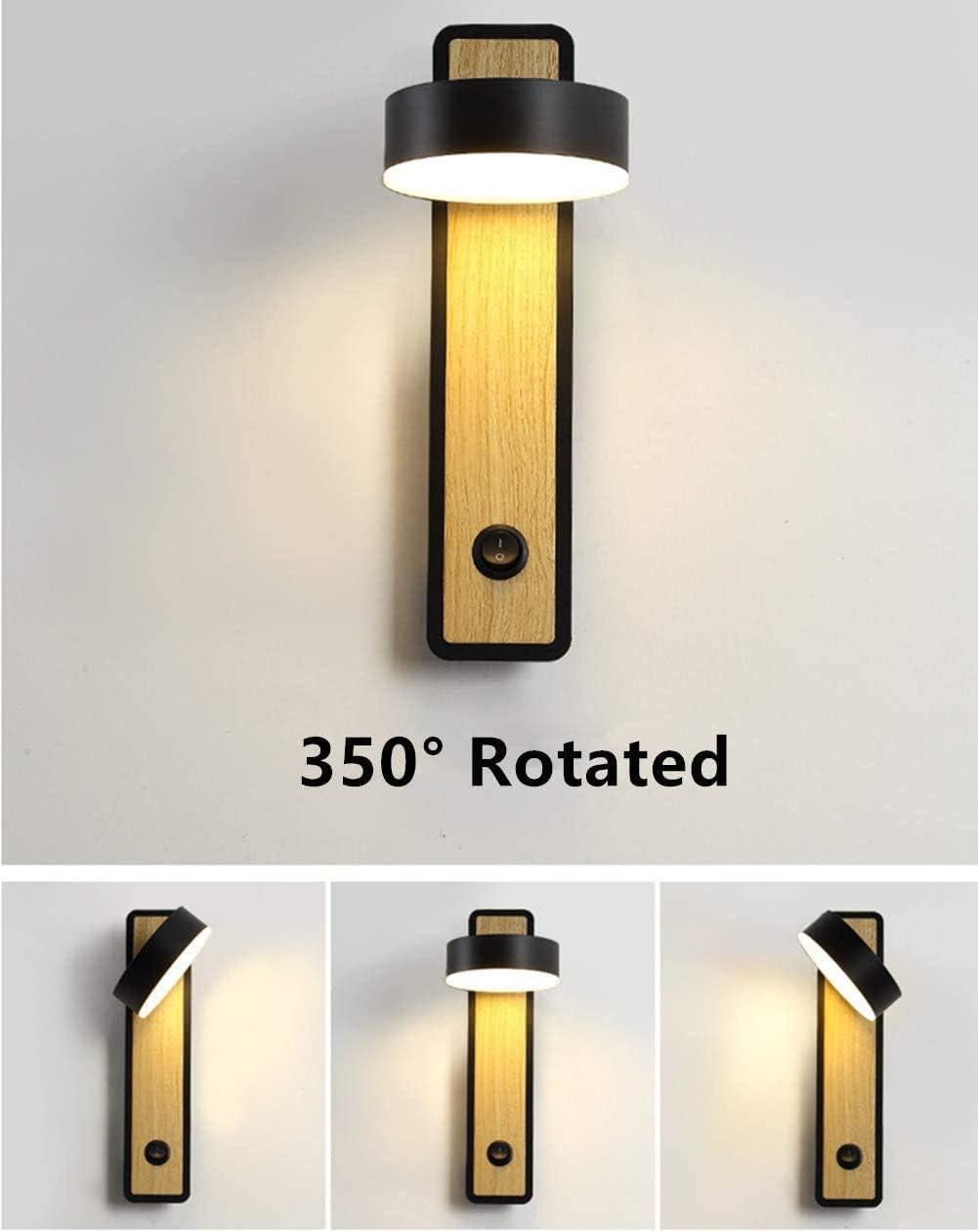 DGSD LED-Wandleuchte Innenwand-Wandleuchte aus Holz, verwendet in Schlafzimmer, Wohnzimmer, Bürokorridor, 350 ° drehbar (schwarz),Black Black