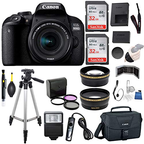 Canon EOS 800D (Rebel T7i) DSLR Camera with 18-55mm is STM Lens (Black) Professional Accessory Bundle Package Includes: SanDisk 32GB Card (2CT) + 50'' Tripod + Canon Bag and More