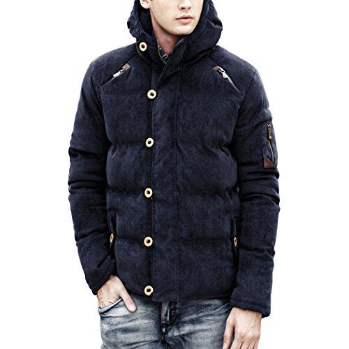 Sun Lorence Men's Winter Single Breasted Padded Corduroy Jacket Warm Zip Hooded Coat Navyblue S