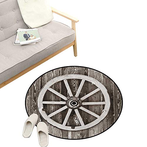 (Barn Wood Wagon Wheel Kids Round Rug ,Retro Wheel on Timber Wall Barn House Village Cart Circle, Sofa Living Room Bedroom Modern Home Decor 39