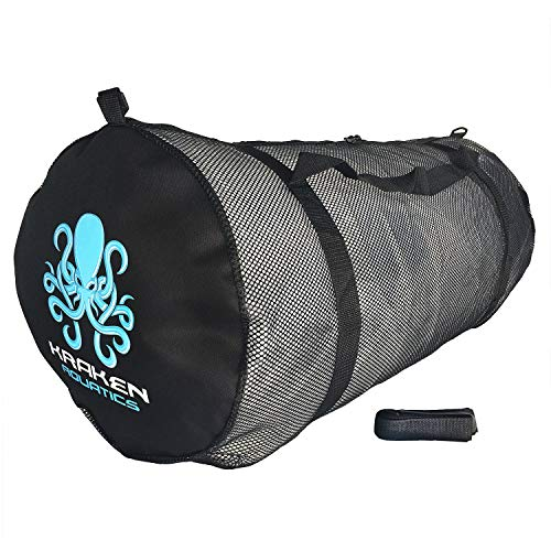 Kraken Aquatics Mesh Duffle Gear Bag with Shoulder Strap | for Scuba Diving, Snorkeling, Swimming, Beach and Sports Equipment | X-Large
