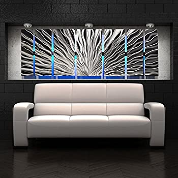 Vibration led color changing led lighted metal wall art modern abstract sculpture painting decor rgb