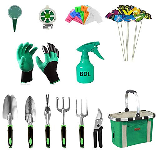 Garden Tools Set with 40 Pieces Hand Tools, Garden Tools Bag with Heavy Duty Tools, Garden Tool Kit with Foldable Handle…