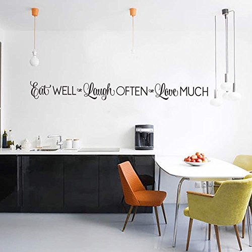 Eat Well, Laugh Often, Love Much Wall Stickers Decals Kitchen Home Decor Dining & Cooking Quote Decal Heart Removable Vinyl Art Decoration (42'' X 4.3'', Black)