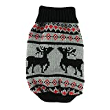 Cute Elk Dog Winter Clothing Knitted Pet Clothes Sweater with Christmas Reindeer Pattern for Dogs Puppy Kitten Cats (Black Deer, XL)