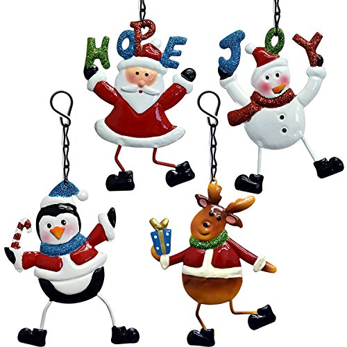 Metal Tin Christmas Ornaments 8 Pack, 2 of Each Santa Claus Snowman Reindeer Penguin Hanging Holiday Party Decorations By Gift Boutique (Cookie Ideas Christmas Decorating Unique)