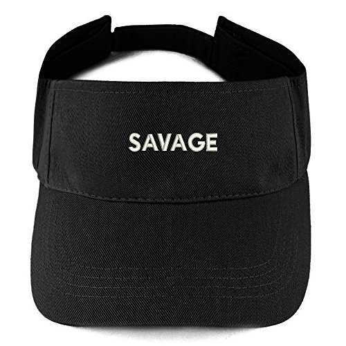 Trendy Apparel Shop Savage Embroidered 100% Cotton Adjustable Visor - Black (Cotton Embroidered Visor)
