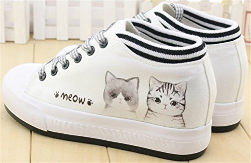 SATUKI Hidden Heel Fashion Sneakers For Women,Wedges Platform Lace Up Casual Sports Canvas Shoes A