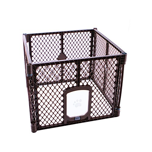 - North States MyPet 7 Sq. Ft. Stages Indoor/Outdoor Petyard: 4-panel pet enclosure with lockable pet door. Freestanding (26