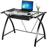 Yaheetech Black Glass Computer Desk w/ Pull Out Keyboard Tray for Home and Office