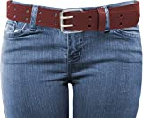 EURO Womens Thick Wide 2 Hole Leather Belt - BN9041 - Burgundy M