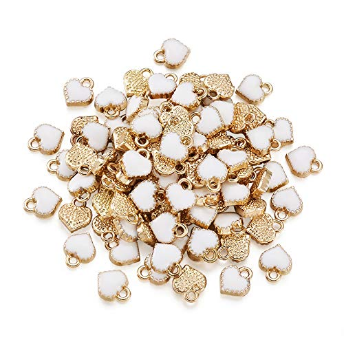 - Pandahall 100pcs Heart Alloy White Enamel Charms 8x7.5x2.5mm Mini Heart Beads Gold Plated Dangle Charms for Jewelry Making Valentine's Day Accessories Finding Supplies Hole: 1.5mm