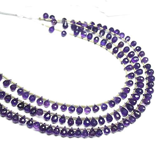 Natural Gems Jewelry Natural Purple Amethyst Faceted Tear Drop Briolette Gemstone Loose Craft Beads Strand 8