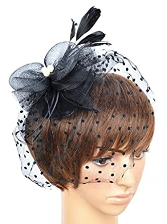 Womens Fascinator Hat with Clip and Brooch B-black