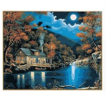 Mscly Paisaje Nocturno Luna Llena Pintura Al óleo Pintura Por
