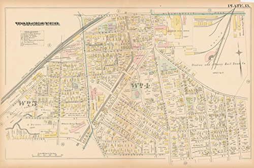 Historic Pictoric Map | Atlas City of Worcester, MA, Worcester 1886 Plate 013 | Vintage Poster Art Reproduction | 24in x 16in