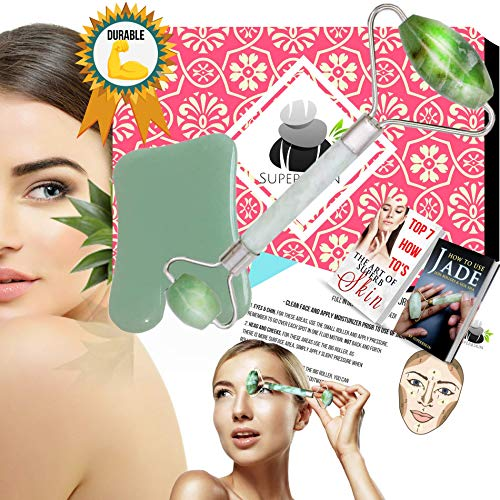 Jade Roller And Gua Sha For Face,Scraping Massage Tool, Guasha Tools, 100% Real, Face Massager, Neck Royal Slimming For Skin,For Puffy Eye, Dark Circles,Chi Anti-Aging Therapy, Massaging Beauty Stones by SuperbSkin Products (Image #9)