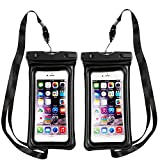 Floating Waterproof Phone Pouch,[Universal] [2 Pack] [Black & Black] - Perfect for Boating/Kayaking/Rafting/Swimming/Snorkeling, Dry Bag Protects your cell phone and valuables - IPX8 Certified