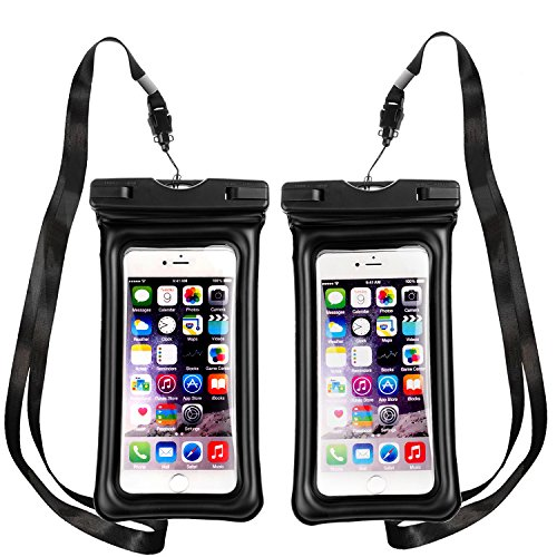 Floating Waterproof Phone Pouch,[Universal] [2 Pack] [Black & Black] - Perfect for Boating/Kayaking/Rafting/Swimming/Snorkeling, Dry Bag Protects your cell phone and valuables - IPX8 Certified by PEADOO