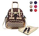 Hoxis Multifunction Polka Dots Baby Boom Backpack Diaper Bag (Upgraded Version Brown) by Hoxis