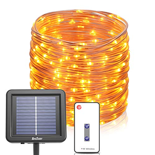 72 Ft Outdoor Solar Rope Lights, String Lights with RF Remote, IP67 Waterproof Outdoor Solar Fairy Lights, 200 LED's Rope Lights for Outdoor, Patio, Garden, Home Decor, Christmas, Warm White